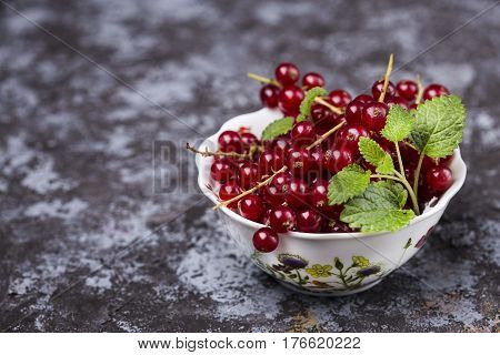 Red ripe currants on a dark background