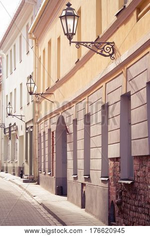 Vilnius oldtown street view at sunny day