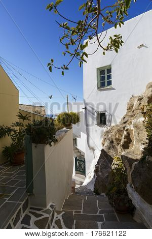 Street in Chora village on Ios island, Greece.