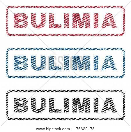 Bulimia text textile seal stamp watermarks. Blue red black fabric vectorized texture. Vector tag inside rounded rectangular banner. Rubber sticker with fiber textile structure.