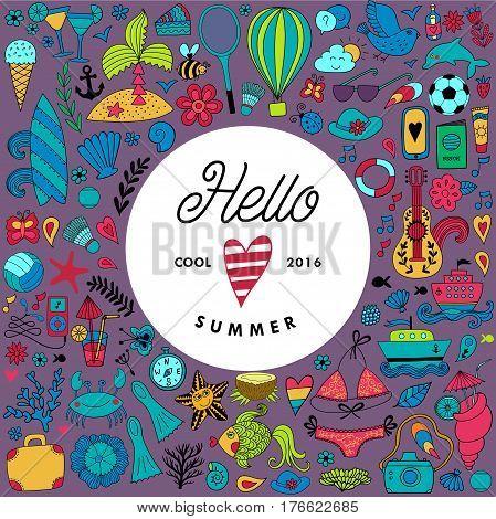 Summer doodles design, travel vacation illustration in wreath shape.