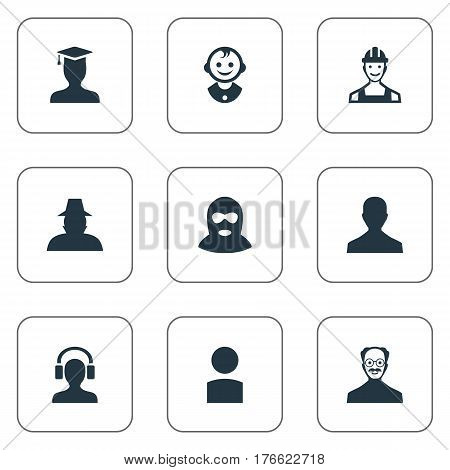 Vector Illustration Set Of Simple Human Icons. Elements Male User, Felon, Postgraduate And Other Synonyms Culprit, Profile And Agent.