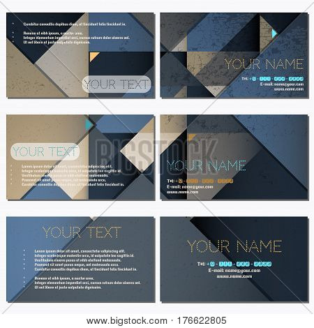 Set Of Six Horizontal Business Cards. Abstract Polygonal Vector Background. Complied With The Standa