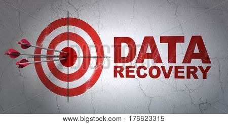 Success Information concept: arrows hitting the center of target, Red Data Recovery on wall background, 3D rendering