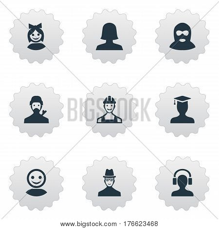 Vector Illustration Set Of Simple Member Icons. Elements Woman User, Proletarian, Postgraduate And Other Synonyms Offender, Girl And Postgraduate.