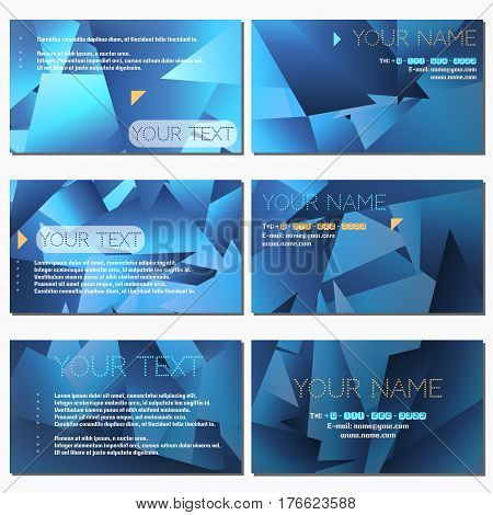 Set of six horizontal business cards. Abstract polygonal vector background. Complied with the standard sizes.