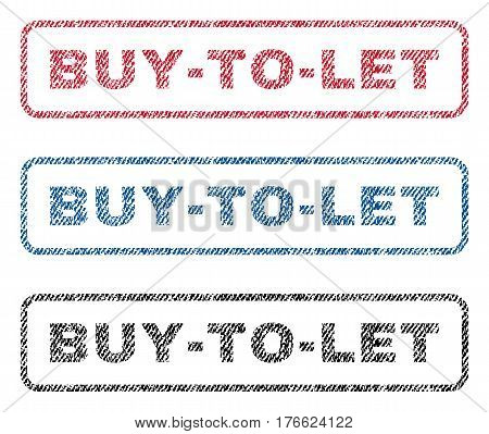 Buy-To-Let text textile seal stamp watermarks. Blue red black fabric vectorized texture. Vector caption inside rounded rectangular banner. Rubber emblem with fiber textile structure.