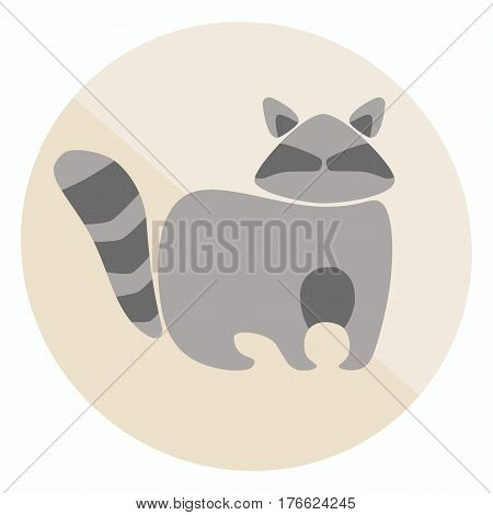 Vector flat style two-colored raccoon icon for your design