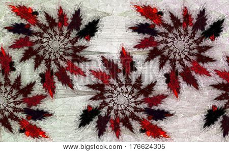 Abstract ornament of vintage fractal red and black spirals on the background of a grid. Can be used for decorating walls and as an ethnic pattern for the fabric. Ideal for bandannas. Fractal art.