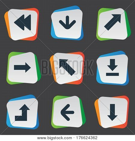 Vector Illustration Set Of Simple Arrows Icons. Elements Let Down, Left Direction, Increasing And Other Synonyms Direction, Download And Right.