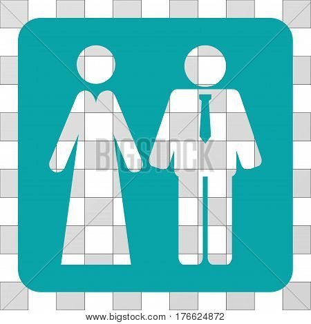Newlyweds square icon. Vector pictogram style is a flat symbol perforation inside a rounded square shape, cyan color.