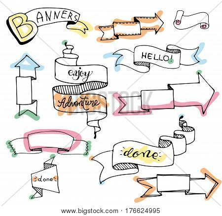 Collection of ribbon banners. Vector. Set of hand drawn vintage banners. Set of Hand Drawn Doodle Web Design Elements.  set of hand drawn banners. Vector illustration isolated on white.