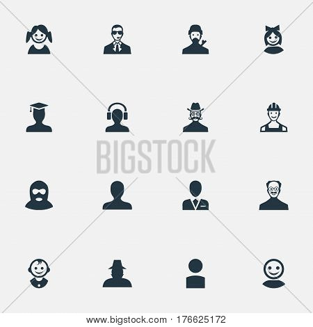 Vector Illustration Set Of Simple Human Icons. Elements Portrait, Insider, Little Girl And Other Synonyms Boy, Proletarian And Felon.