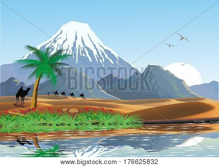 Landscape - mountains and oasis in the desert. A caravan of camels. Lake and palm trees in the desert. Vector illustration