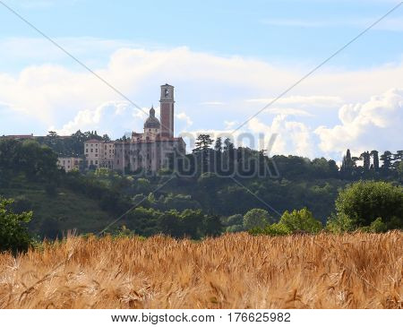 Christian Basilica Atop Mount Called Monte Berico With Wheat Fie