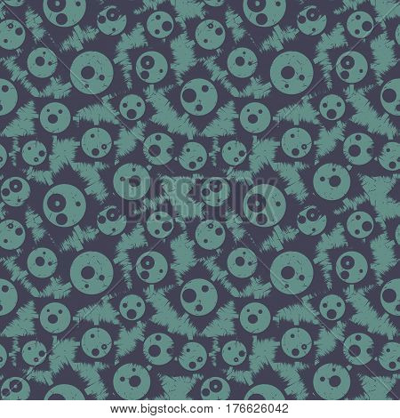 Grunge seamless pattern with funny faces. Vector illustration