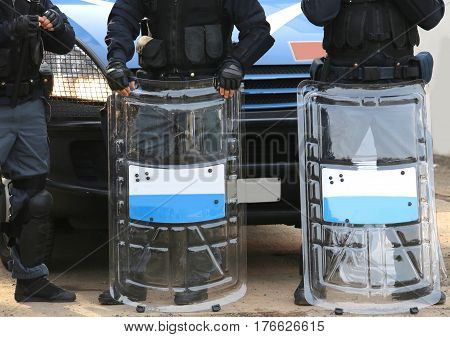 Policemen With Shields And Riot Gear During The Sporting Event I