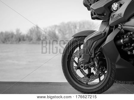 Senta Serbia: March 4th 2017. Close-up of beautiful BMW K1300R motorcycle photographed outdoor on a dock in Senta besides river
