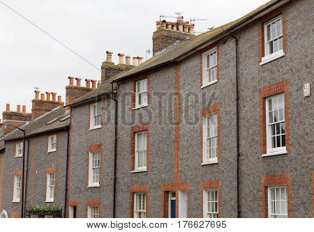 LEWES GREAT BRITAIN - FEB 25 2017: Typical english townhouse on the countryside in Lewes. February 25 2017 in Lewes Great Britain.