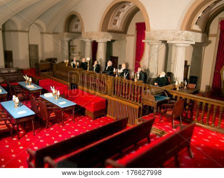 A miniature model of the United States Supreme Court.