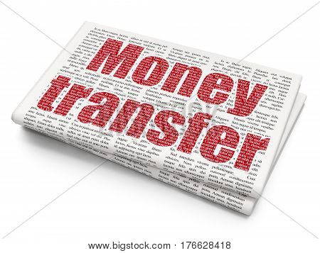 Banking concept: Pixelated red text Money Transfer on Newspaper background, 3D rendering