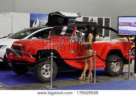MOSCOW - MARCH 09 2017: WaterCar Panther for 10 International boat show in Moscow. Russia.