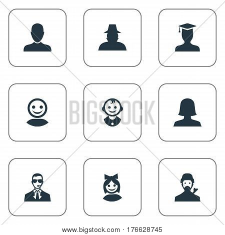 Vector Illustration Set Of Simple Member Icons. Elements Girl Face, Internet Profile, Job Man And Other Synonyms Worker, Postgraduate And Web.