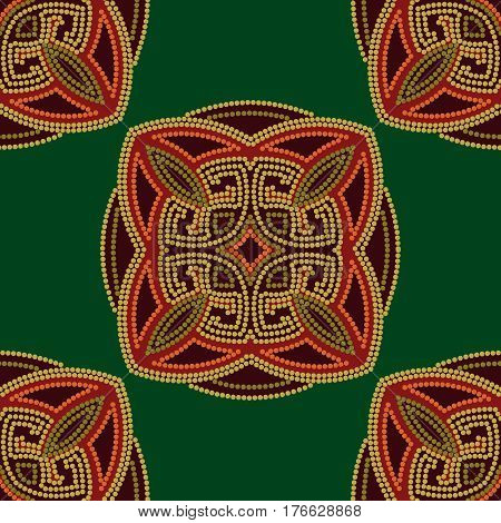 Colourful ethnic seamless pattern background in green and burgundy orange colors vector illustration.