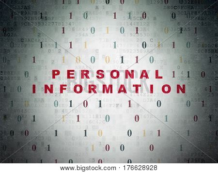 Privacy concept: Painted red text Personal Information on Digital Data Paper background with Binary Code