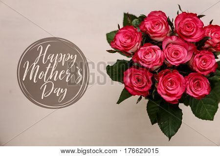 Pink roses background. Happy mothers day. Floral gift. Bouquet of fresh natural flowers.