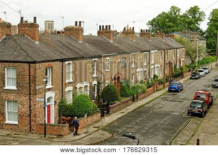 York England - June 29 2016: Typical British Street With Terraced Houses In The City Centre Of York