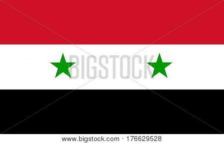 flat syrian flag in the colors black, green, white and red