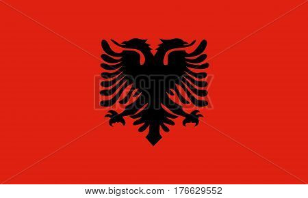 flat albanian flag in the colors black and red