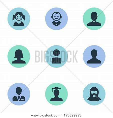 Vector Illustration Set Of Simple Human Icons. Elements Young Shaver, Little Girl, Male User And Other Synonyms Young, Little And Graduate.