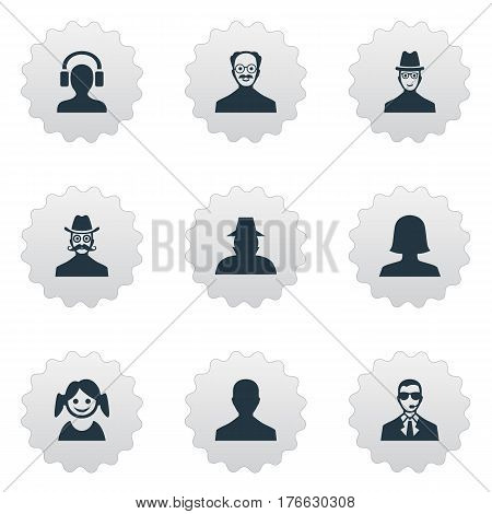 Vector Illustration Set Of Simple Avatar Icons. Elements Little Girl, Bodyguard, Spy And Other Synonyms Profile, Detective And Mustaches.