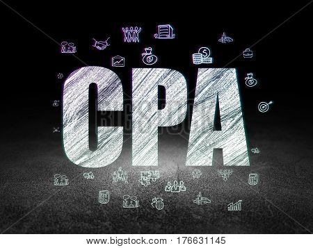 Finance concept: Glowing text CPA,  Hand Drawn Business Icons in grunge dark room with Dirty Floor, black background