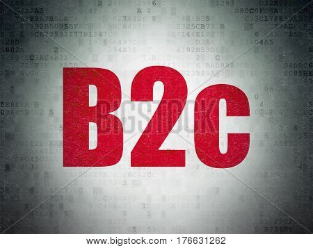Finance concept: Painted red word B2c on Digital Data Paper background