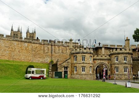 Lincoln Uk - July 1 2016: Stone Gatehouse East Gate Entrance To Lincoln Castle. It Is Constructed In