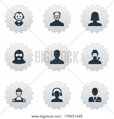 Vector Illustration Set Of Simple Human Icons. Elements Proletarian, Male With Headphone, Young Shaver And Other Synonyms Male, Man And User.
