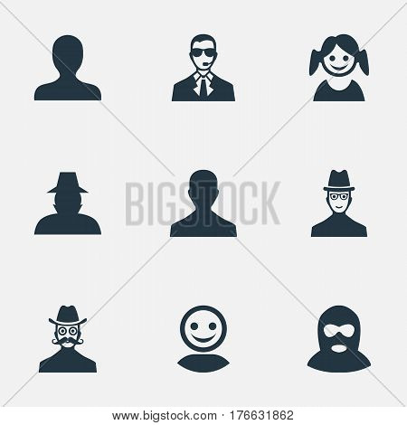 Vector Illustration Set Of Simple Human Icons. Elements Little Girl, Moustache Man, Felon And Other Synonyms Internet, Male And Daughter.
