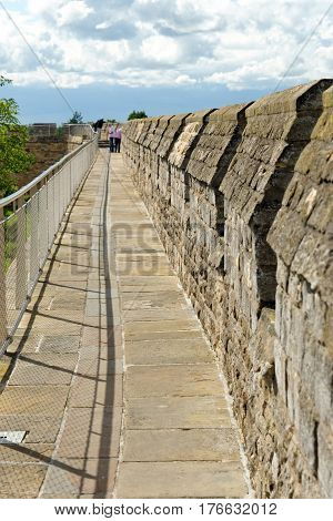 Lincoln Uk - July 1 2016: Castle Walls Of Lincoln Castle A Major Tourist Attraction In Lincoln.