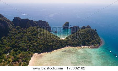 Aerial drone photo of Loh Lana Bay and Nui Bay beach, part of iconic tropical Phi Phi island, Thailand