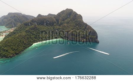 Aerial drone photo of Yong Kasem Bay (called Monkey beach), part of iconic tropical Phi Phi island, Thailand