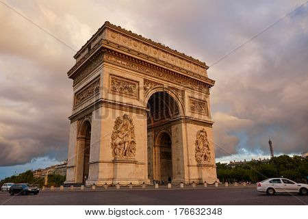 Arc de Triomphe in Paris Arch of Triumph sunset at France