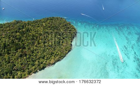 Aerial drone photo of iconic tropical turquoise water Pileh Lagoon, Phi Phi islands, Thailand