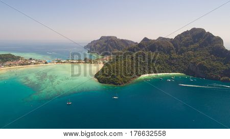 Aerial drone photo of iconic tropical beach and resorts of Phi Phi island, Thailand