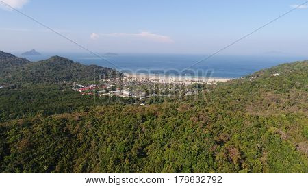 Aerial drone photo back view of Loh Lana Bay, part of iconic tropical Phi Phi island, Thailand