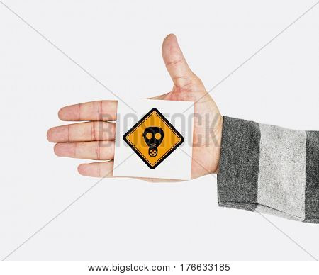Hand Shoot Showing Radioactivity Protection Mask Sign Attention Note