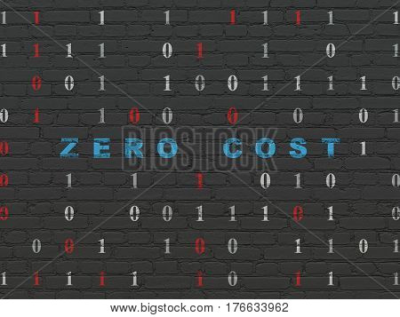 Finance concept: Painted blue text Zero cost on Black Brick wall background with Binary Code