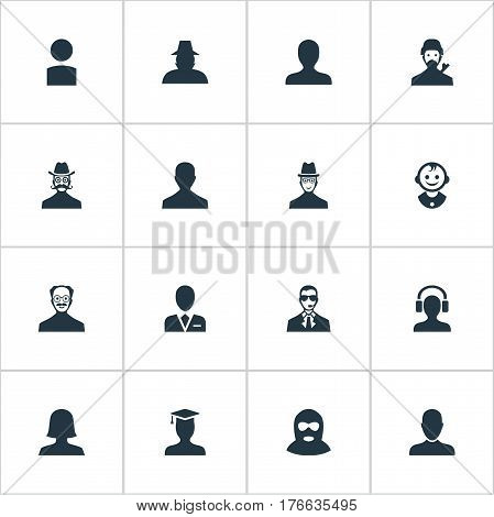 Vector Illustration Set Of Simple Human Icons. Elements Spy, Male User, Whiskers Man And Other Synonyms Detective, Whiskers And Boy.